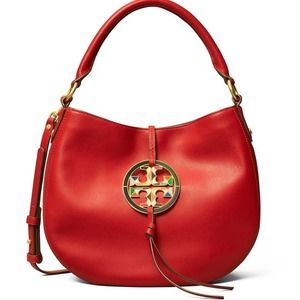 TORY BURCH red MILLER MINI HOBO LEATHER BAG